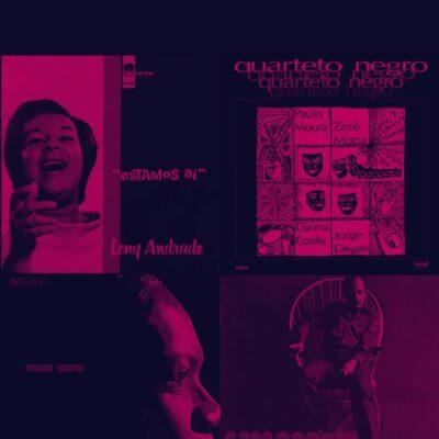 Capas de discos de Leny Andrade, João Donato, Moacir Santos e Quarteto Negro